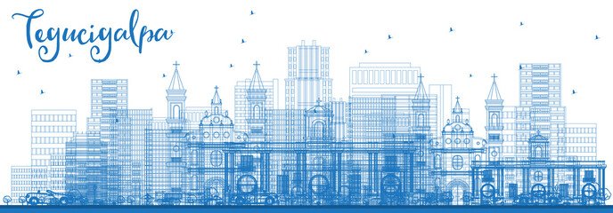 Outline Tegucigalpa Honduras City Skyline with Blue Buildings.