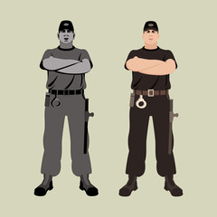 young man guard  vector illustration flat style  front