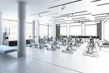 Ergometer im Fitness-Zentrum (Skizze)