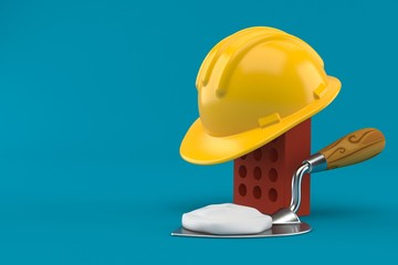 Brick with hardhat and trowel