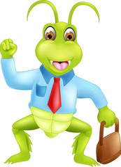 cute grasshopper cartoon standing bring bag with smile and hand up