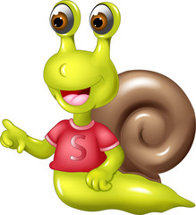 funny snail cartoon posing with smile and pointing