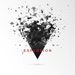 Shatter dark triangle. Abstract cloud of pieces after explosion. Vector illustration isolated on transparent background
