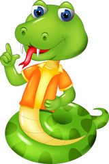 funny snake cartoon standing with smile and pointing