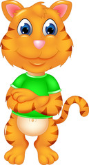 cute tiger cartoon standing with smile