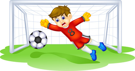 funny goalkeeper cartoon in action with smile