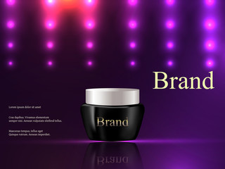 Vector 3d, cosmetics, cream on a dark purple background with bright lights, luxury, advertising, catalog, poster