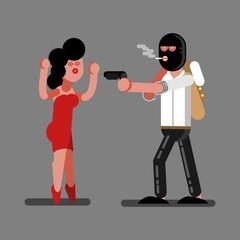 Robber rob a girl