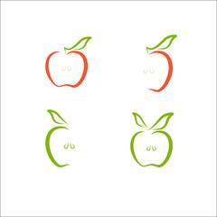 Simple apple icon design vector illustration, eco food