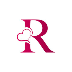 R letter logo with heart icon, valentines day concept