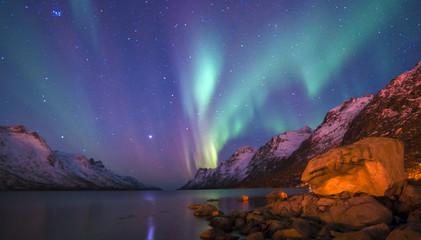 Photo sur Plexiglas Aurore polaire The polar lights in Norway . Ersfjord. Tromso