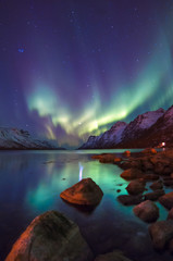 Photo sur Toile Aurore polaire The polar lights in Norway . Ersfjord. Tromso