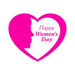 Icono plano Happy Women s Day y corazon con cabeza mujer en fondo blanco