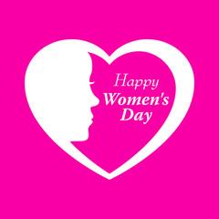 Icono plano Happy Women s Day y corazon con cabeza mujer en fondo rosa