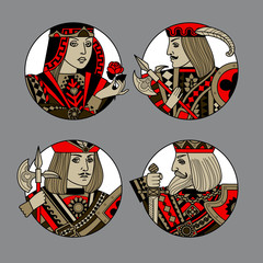Playing card portraits in round frame