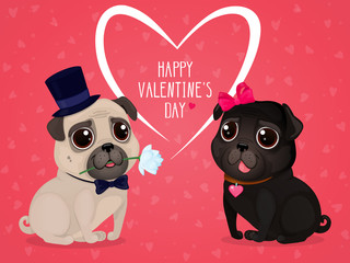"""Greeting card for Valentine's Day with cute pugs. Cartoon dogs with hearts on a red background. Vector illustration for a postcard or a poster. Text """"Happy Valentine's Day""""."""