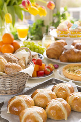 Table with delicatessen ready for Easter brunch