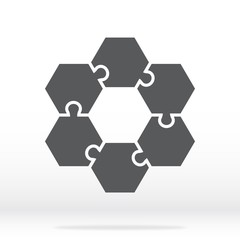 Simple icon hexagonal puzzles in gray. Simple icon puzzle of the six elements. Flat design. Vector illustration EPS10.