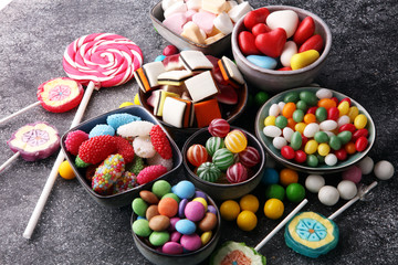 Papiers peints Confiserie candies with jelly and sugar. colorful array of different childs sweets and treats