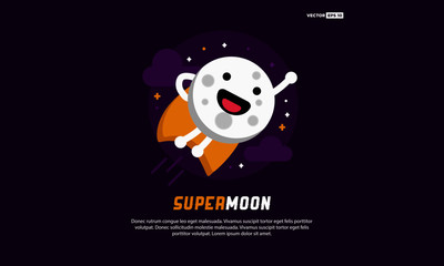 Super Moon Cartoon Flying Superhero With Cape in Flat Style Design