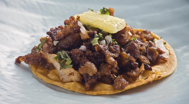 One taco al pastor close up