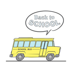Flat line doodle School Bus and speech bubbles with lettering Back to school on white background.