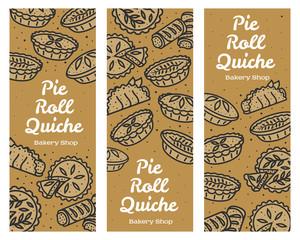 Meat pie, roll, quiche banner illustration