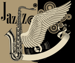 Jazz festival poster with saxophone, wing and old banner
