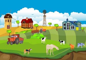 Countryside illustration vector, ummer farm  background,  red barn and mill in the summer field farm animals, houses.