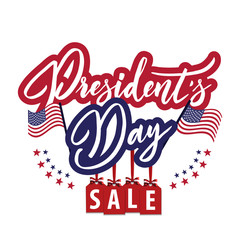 Happy President's Day Sale emblem with american flag