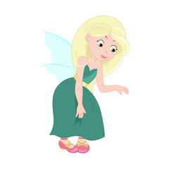 Illustration of cute young fairy. Vector.