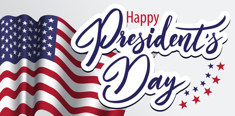 Happy President's Day banner with anerican flag