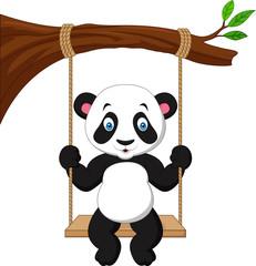 Cartoon cute panda swinging