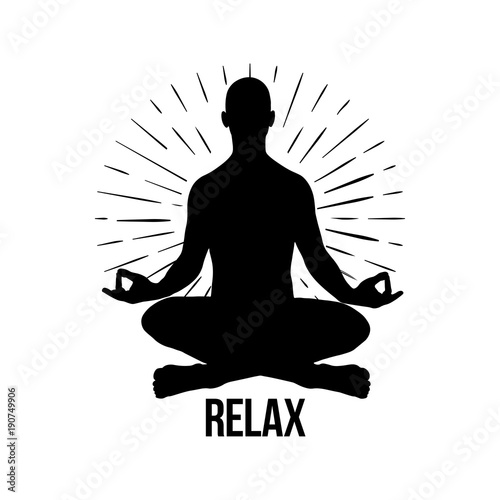 Vector Meditation Man Yoga Pose Silhouette Of
