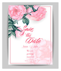 Save the date cards with roses. Can be used for wedding invitation, birthday card, invitation card Vector template.