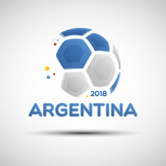 Abstract soccer ball with Argentine national flag colors