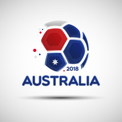 Abstract soccer ball with Australian national flag colors