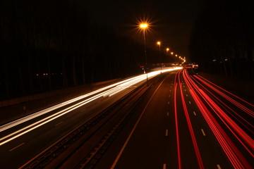 Stripes of light along highway A20 in Nieuwerkerk aan den IJssel, the Netherlands