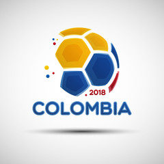 Abstract soccer ball with Colombian national flag colors