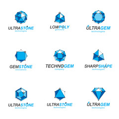 Set of abstract 3d faceted figures with connected lines. Vector low poly design elements collection. Set of brilliant jewelry signs for use in advertisement design concept.