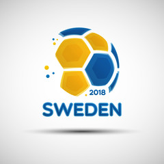 Abstract soccer ball with Swedish national flag colors