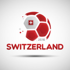 Abstract soccer ball with Swiss national flag colors