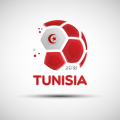 Abstract soccer ball with Tunisian national flag colors