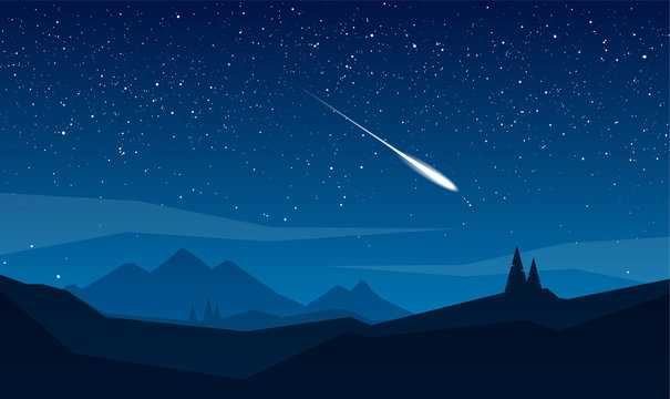 Night mountains landscape with stars and meteor.