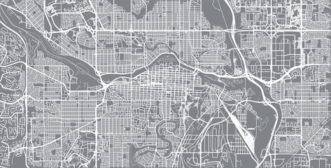 Urban vector city map of Calgary, Canada