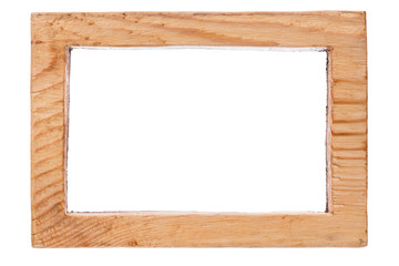 One-piece vintage wooden frame, isolated on white background.