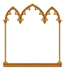 Classic gothic architectural decorative frame isolated on white