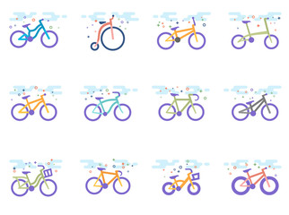 Bicycle type icons in flat colors style. Vector illustration.