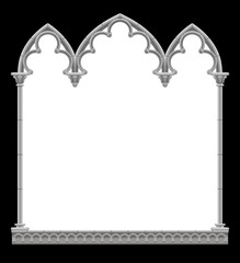 Classic gothic architectural decorative frame in black and white colors