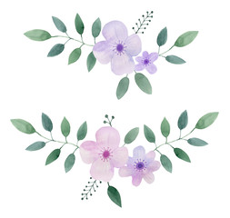 Decorative flower composition  with leaves. Watercolor hand drawn illustration. Isolated on white background